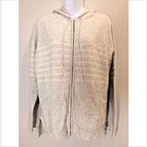 GAP M White Gray Striped Wool Blend Zip-Up Hoodie